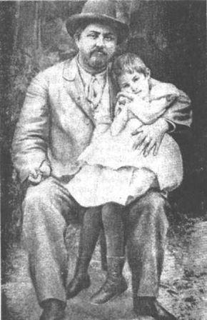 Д.Н.Мамин-Сибимяк с дочкой Алёнушкой.